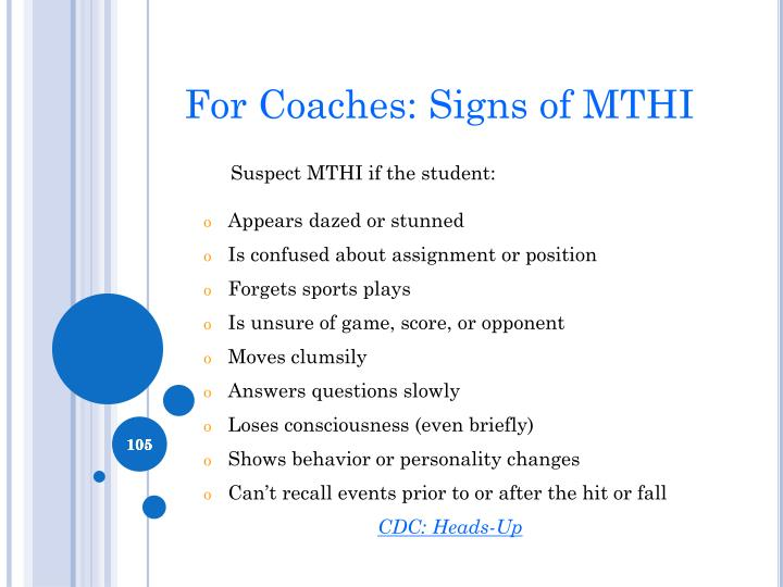 For Coaches: Signs of MTHI