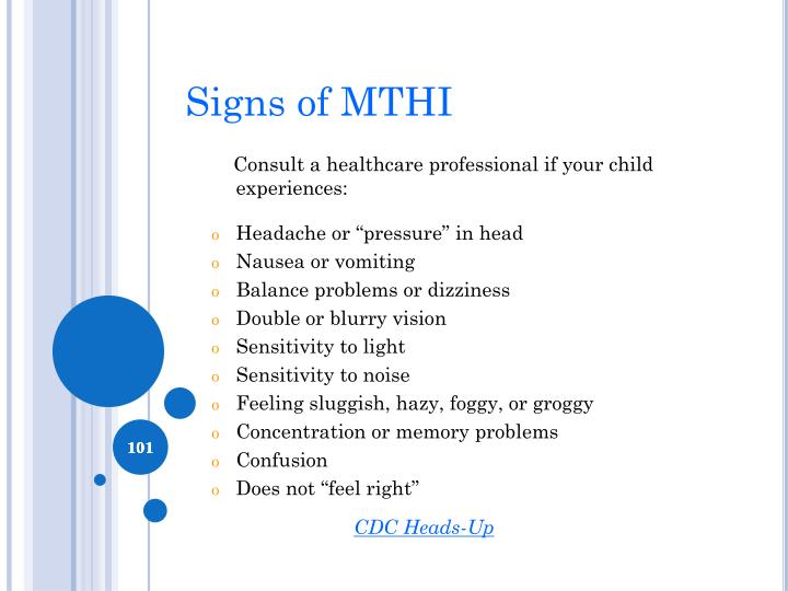 Signs of MTHI