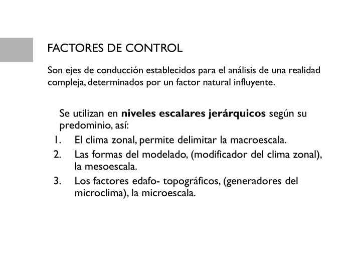 FACTORES DE CONTROL