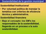 sostenibilidad de la gesti n municipal