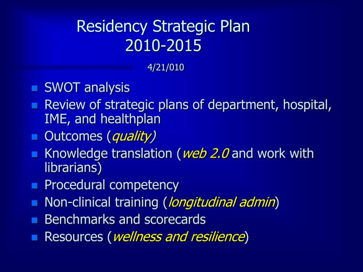 Residency Strategic Plan