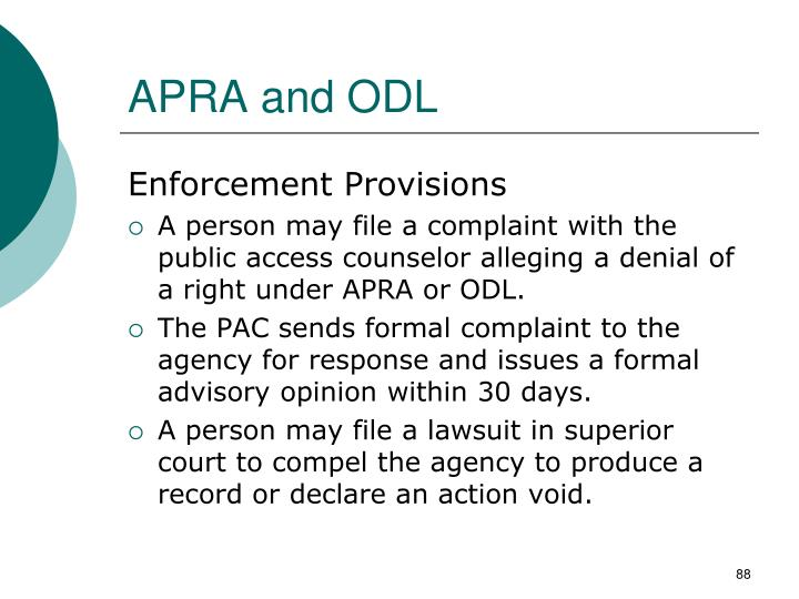APRA and ODL