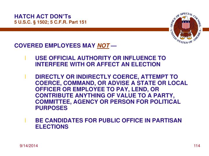 HATCH ACT DON'Ts