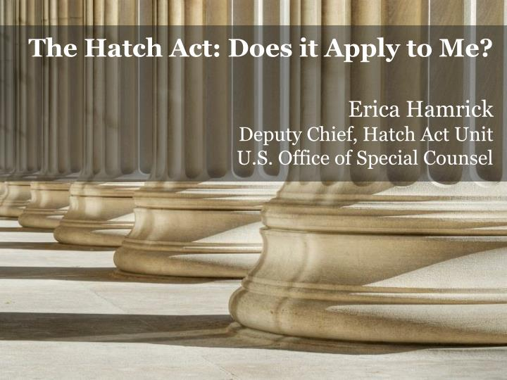 The Hatch Act: Does it Apply to Me?