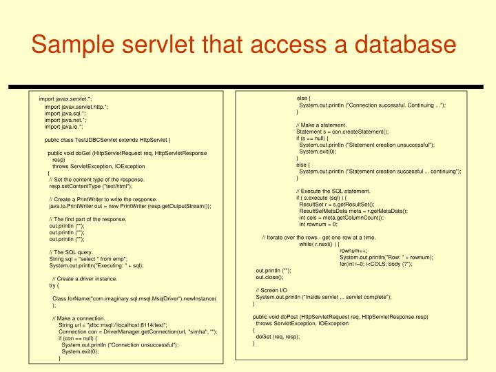 Sample servlet that access a database
