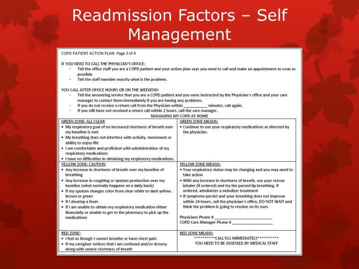 Readmission Factors – Self Management