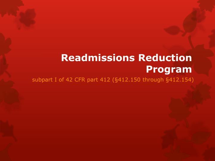 Readmissions Reduction Program
