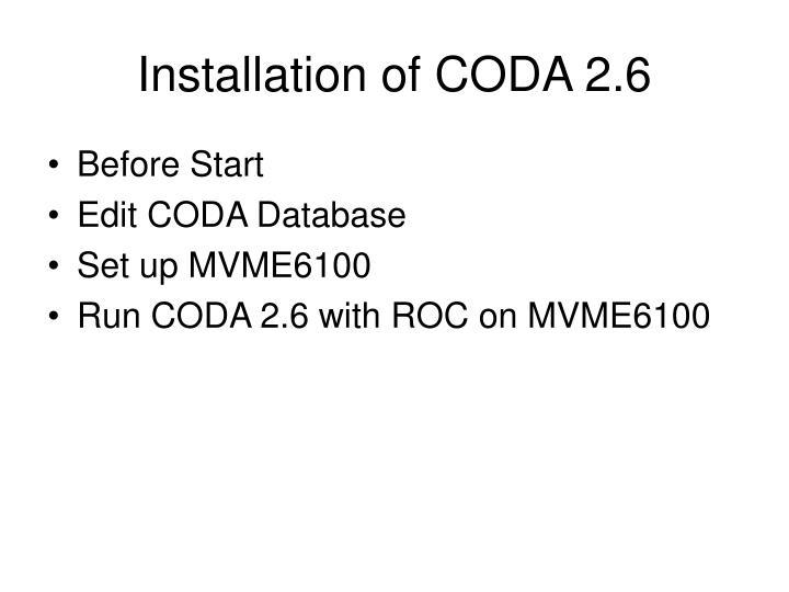 Installation of CODA 2.6