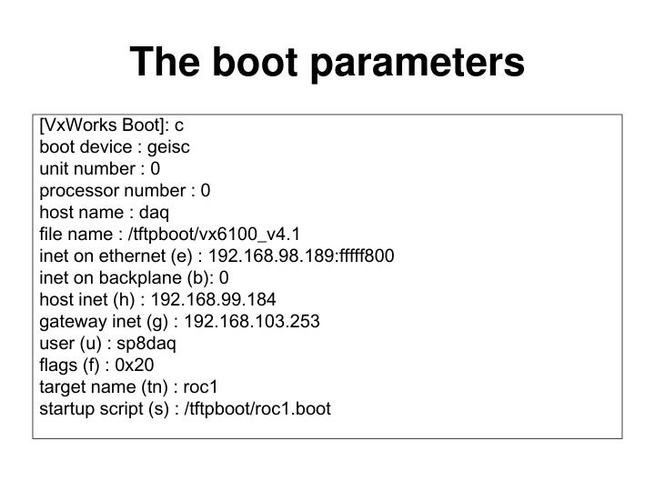 The boot parameters