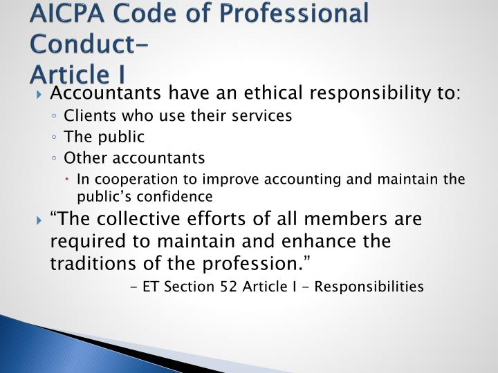 Aicpa code of professional conduct, Coursework Sample - tete-de