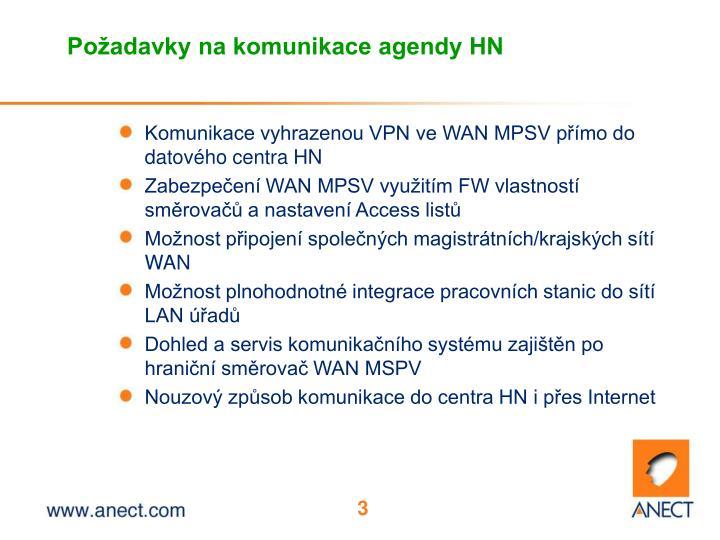 Po adavky na komunikace agendy hn
