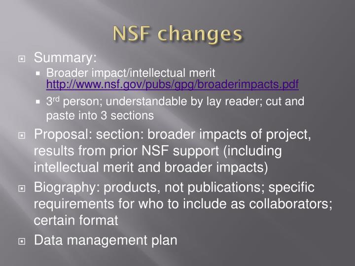 NSF changes