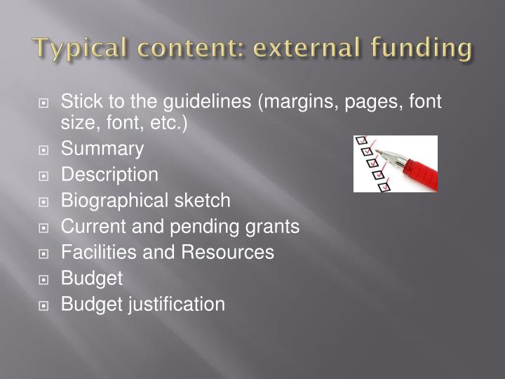 Typical content: external funding