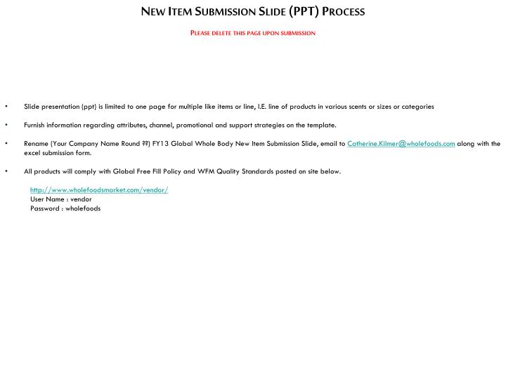 PPT - New Item Submission Slide (PPT) Process PowerPoint