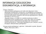 informacja geologiczna dokumentacja a informacja