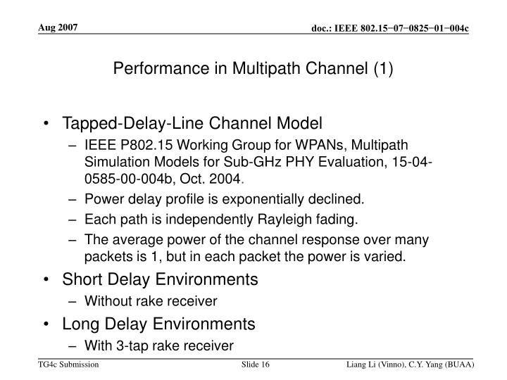 Performance in Multipath Channel (1)