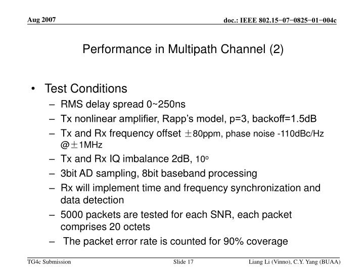 Performance in Multipath Channel (2)