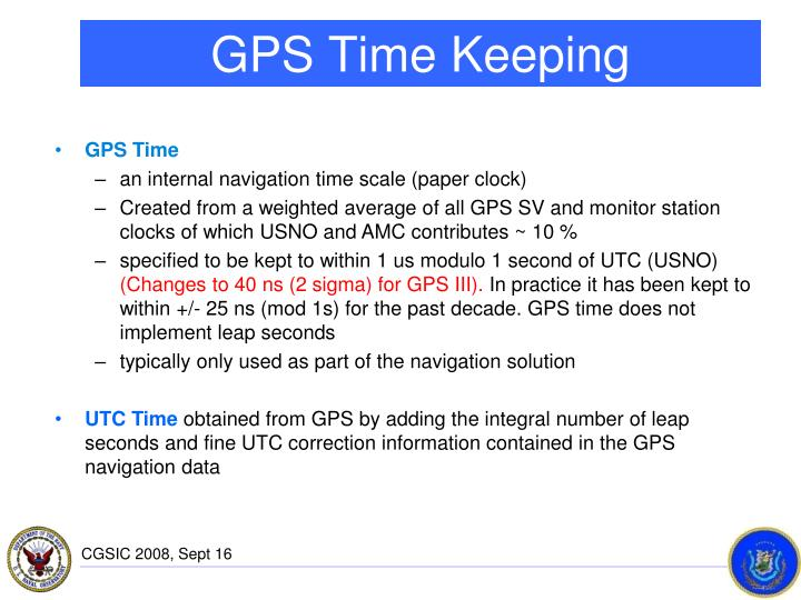 Gps time keeping