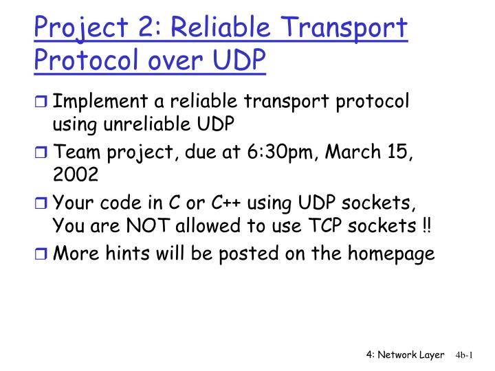 project 2 reliable transport protocol over udp n.