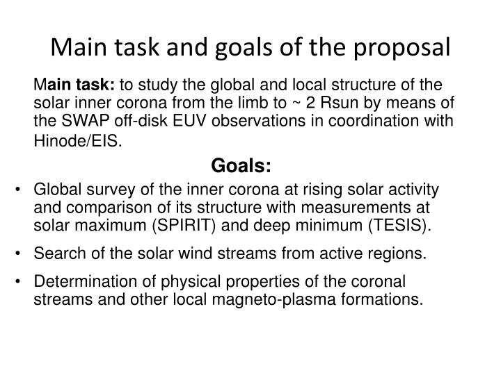 Main task and goals of the proposal
