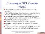 summary of sql queries cont