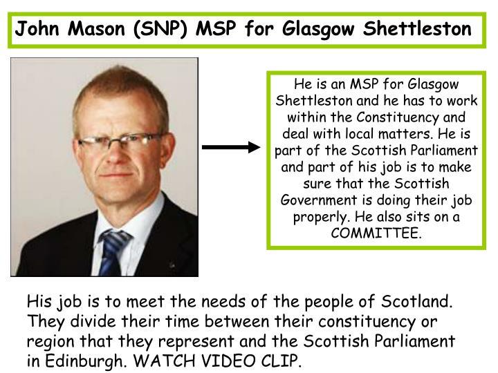 John Mason (SNP) MSP for Glasgow Shettleston