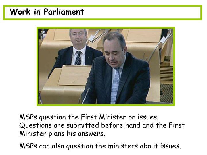 Work in Parliament