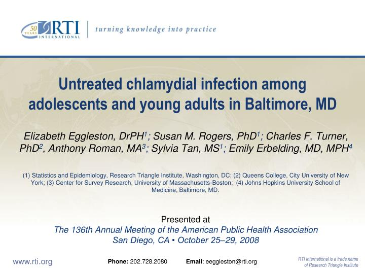 Untreated chlamydial infection among adolescents and young adults in baltimore md