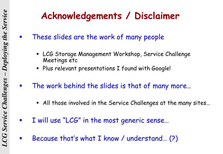 Acknowledgements disclaimer
