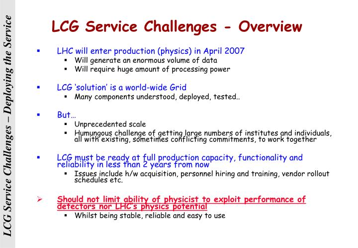 LCG Service Challenges - Overview