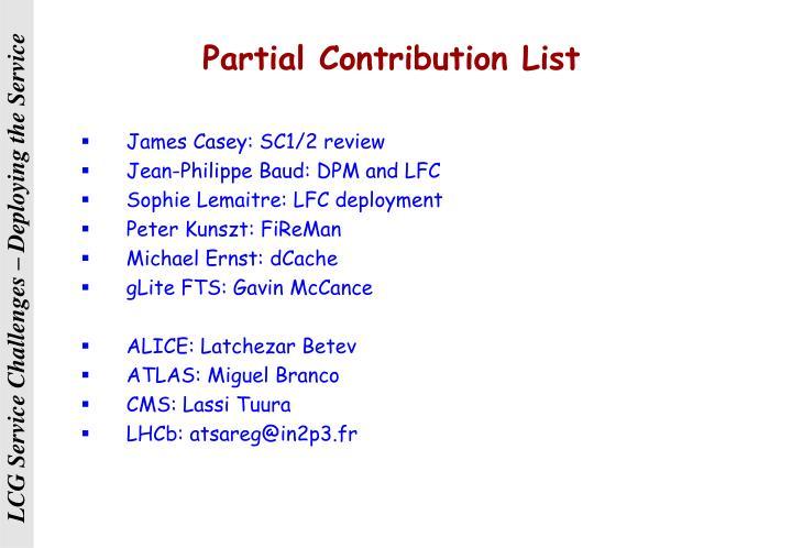 Partial Contribution List