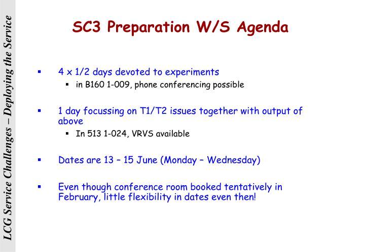 SC3 Preparation W/S Agenda