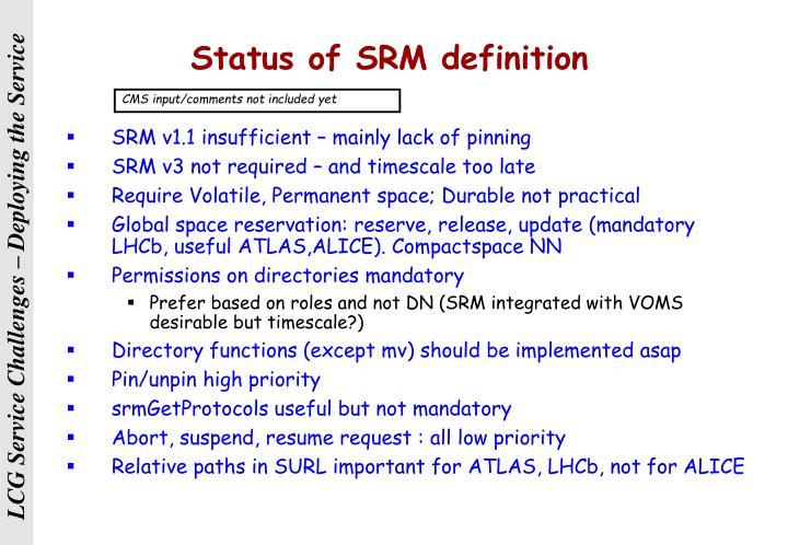 Status of SRM definition