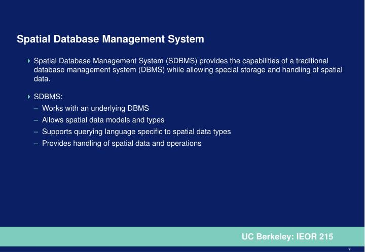 Spatial Database Management System