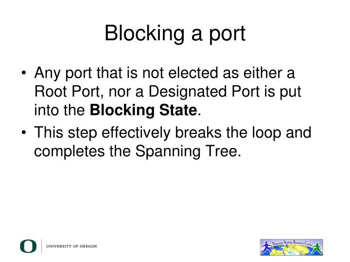 Blocking a port