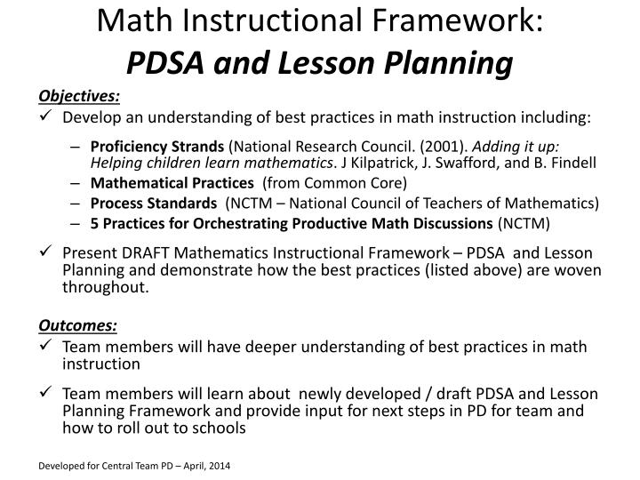 PPT Math Instructional Framework PDSA And Lesson Planning