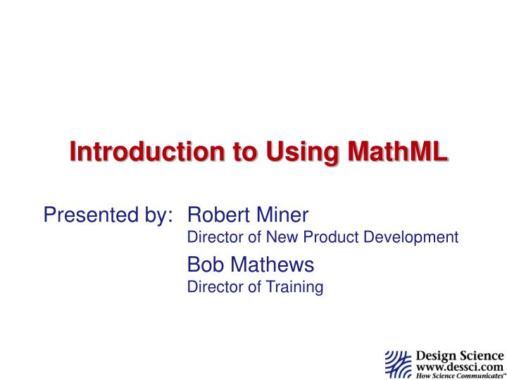 introduction to using mathml n.
