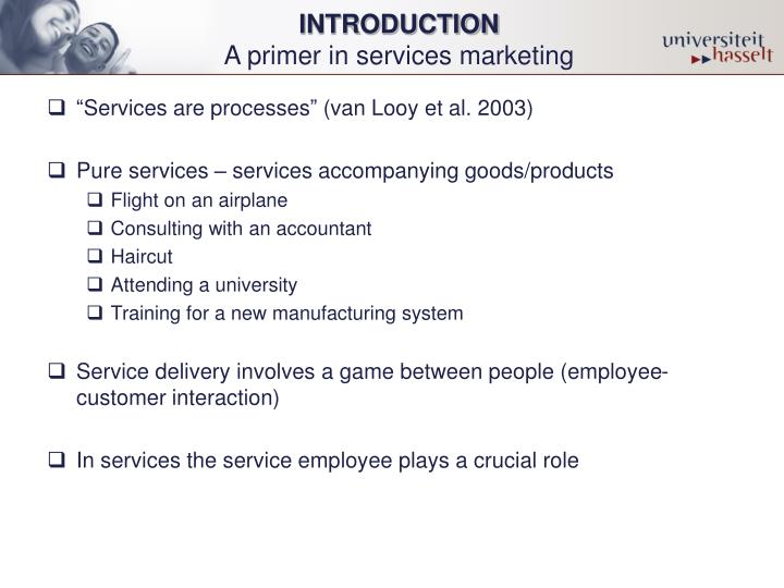 Introduction a primer in services marketing