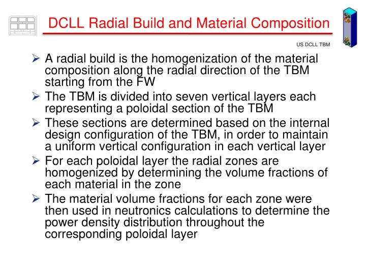 A radial build is the homogenization of the material composition along the radial direction of the TBM starting from the FW