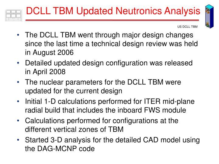 DCLL TBM Updated Neutronics Analysis