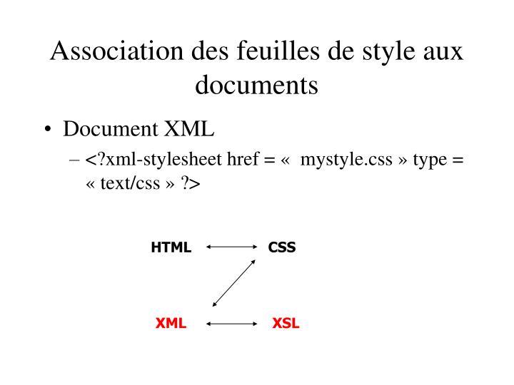Association des feuilles de style aux documents