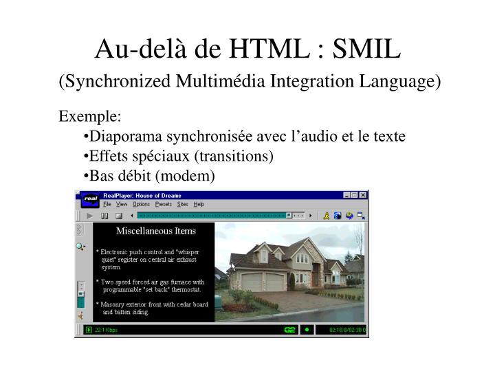 Au-delà de HTML : SMIL