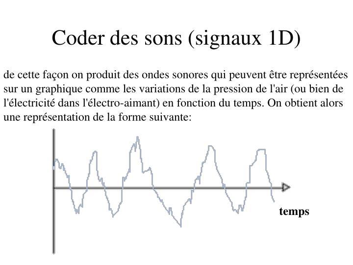 de cette façon on produit des ondes sonores qui peuvent être représentées sur un graphique comme les variations de la pression de l'air (ou bien de l'électricité dans l'électro-aimant) en fonction du temps. On obtient alors une représentation de la forme suivante: