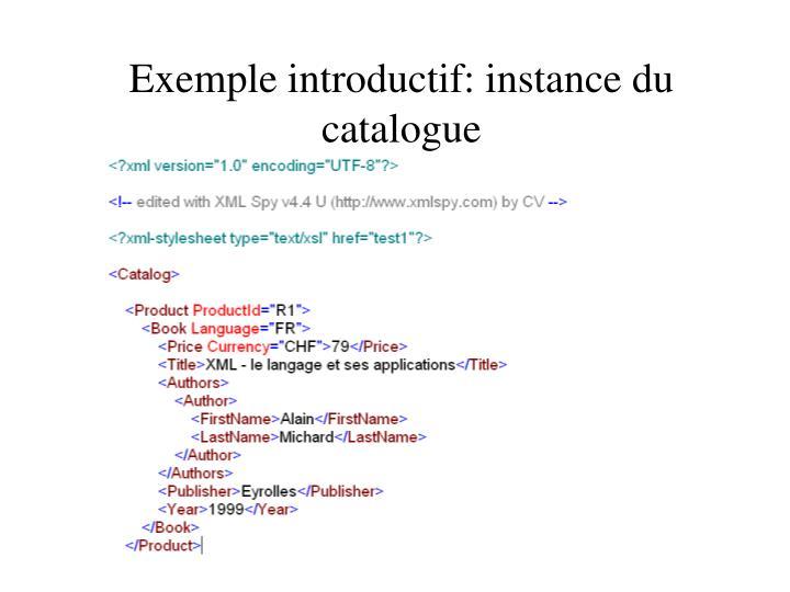 Exemple introductif: instance du catalogue