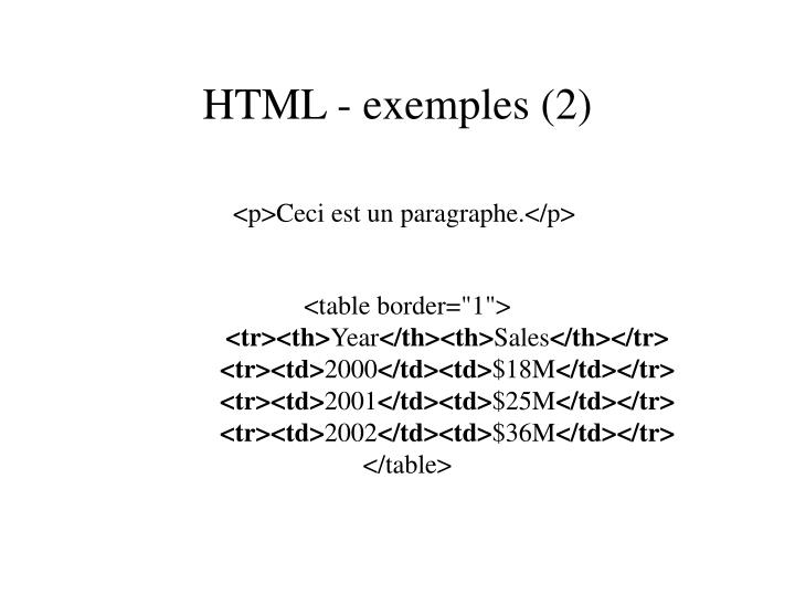 HTML - exemples (2)