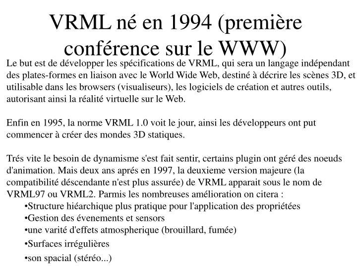 VRML né en 1994 (première conférence sur le WWW)