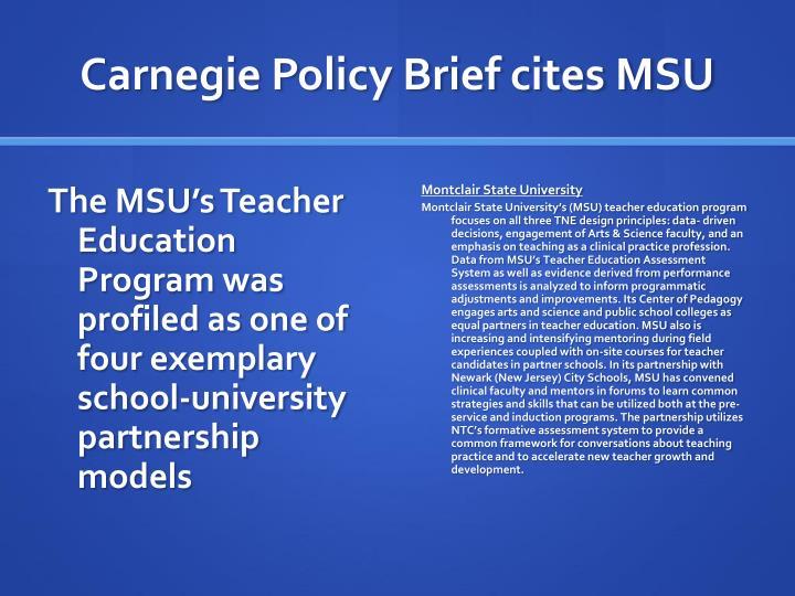 Carnegie policy brief cites msu
