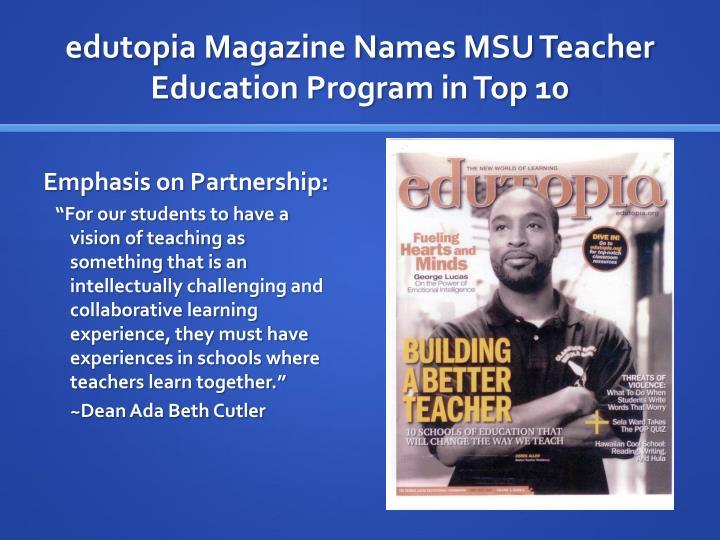 Edutopia magazine names msu teacher education program in top 10