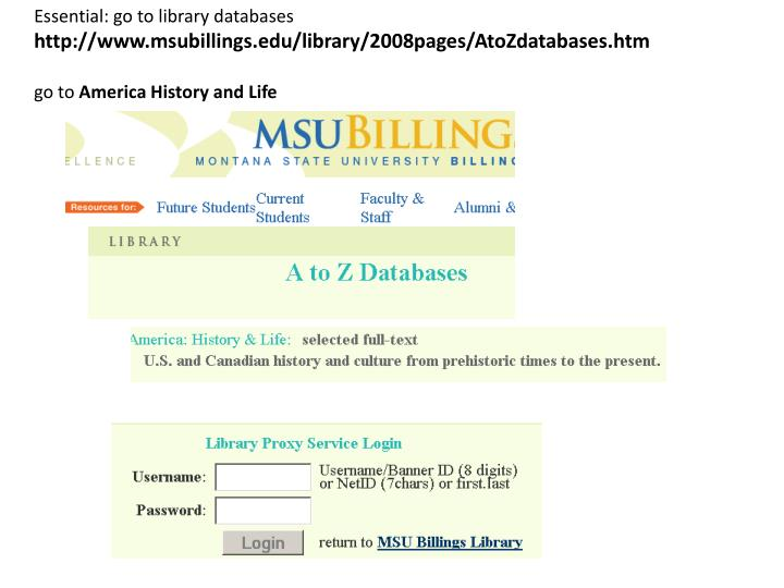 Essential: go to library databases