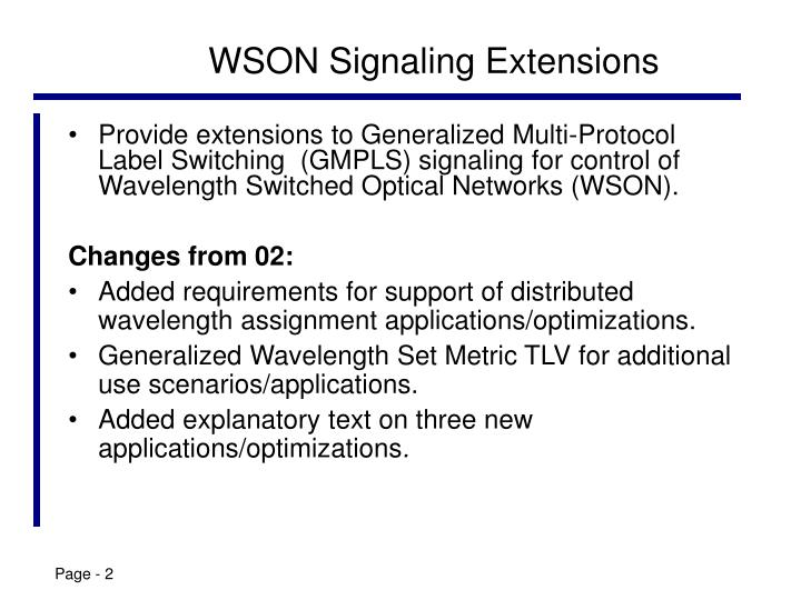 Wson signaling extensions
